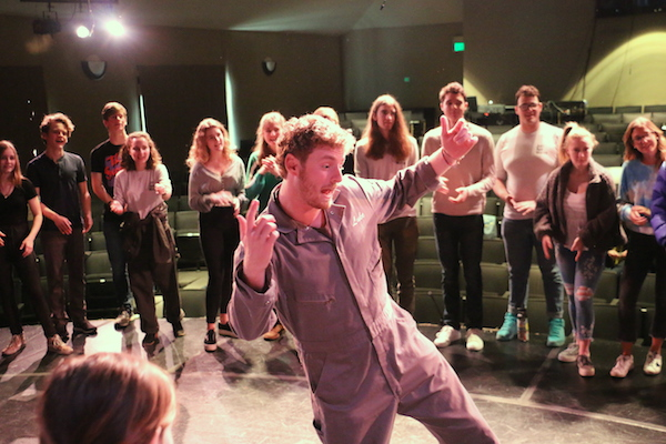 Luke Mobley '16 with Branson Acting Students